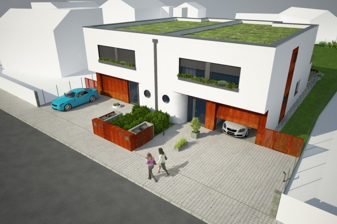 dvojdům se zelenou střechou